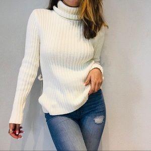 Sundance off white side tie turtleneck sweater